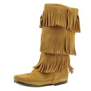New Handmade Women's 3 Layer Fringe Taupe Boots